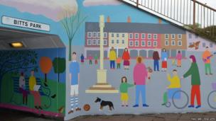 Paul Leith mural at entrance to Bitts Park underpass