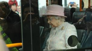 The Queen on a guided bus in Cambridge