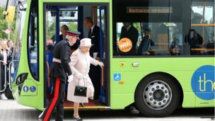 The Queen was driven through the city on a guided bus
