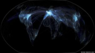 Global flights Earth. Michael Markieta/Arup.