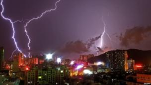 Lightning flashes in the sky in Zhuhai, Guangdong province