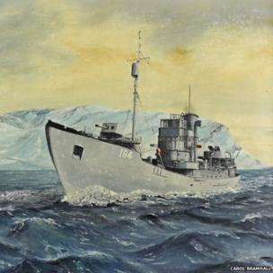 Painting of the armed trawler 'Northern Gem'. The trawler was involved in the famous PQ17 convoy.