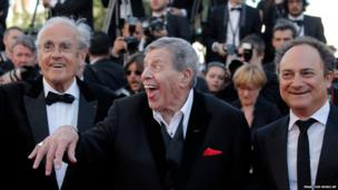 Michel Legrand, Jerry Lewis and Kevin Pollak arrive for the screening of Nebraska at the 66th international film festival, in Cannes