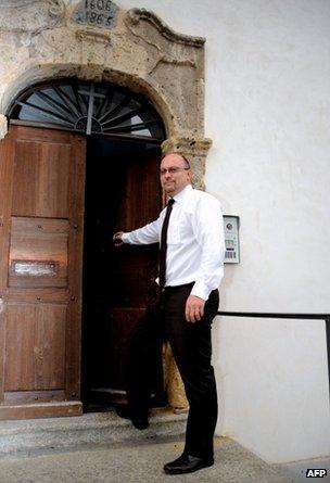 Father Pascal Vesin outside his church in Megeve, 24 May