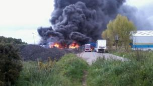 Fire at the Mainetti coathanger factory on the Greenfield Business Park near Holywell, North Wales. Photo: Lee Shepherd