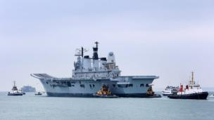 Aircraft carrier Ark Royal leaves Portsmouth for the final time. Photo: Andy Burns