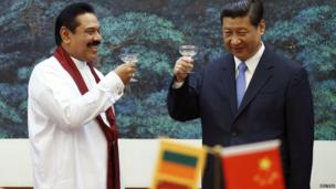 Mahinda Rajapaksa toasts with Xi Jinping, 28 May