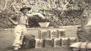 Peter Jackson with his supply boxes on his expedition to Everest