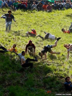 Leanne Matthews' photo of the cheese rolling event that took place on Cooper's Hill in Gloucestershire