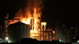 Marcello Aiello's photo of a fire at Egger's Industrial Plant in Hexham