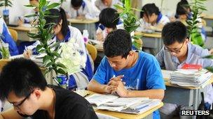Students at a high school in Shenyang, Liaoning province, 29 May 2013