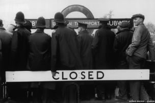 Police at a closed tube station, 1953