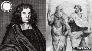 Philosopher Baruch Spinoza (left) and Plato Aristocles with the philosopher and scientist Aristotle (right)