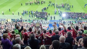 Bayern Munich's players lift the trophy after winning the Champions League Final at Wembley stadium in London