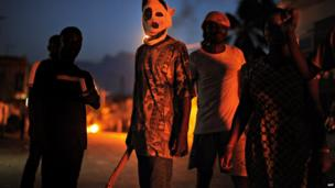 Opposition protesters - one masked - in Lome, Togo - Saturday 25 May 2013