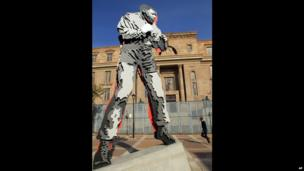 Nelson Mandela statue, Johannesburg, South Africa - Monday 27 May 2013