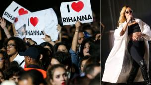 Singer Rihanna and fans in Rabat, Morocco - Friday 24 May 2013