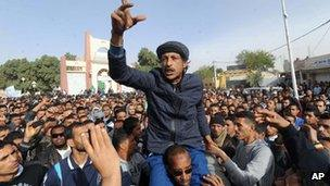 Unemployed men protest in the central Algerian city of Ouargla, March 2013
