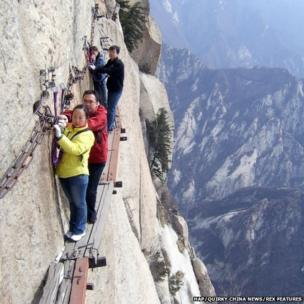People walking along Chang Kong Cliff Road in Shaanxi province, China