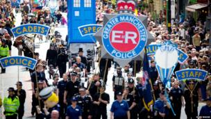 Greater Manchester Police taking part in Manchester Day Parade