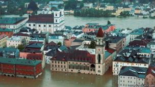 General view of Passau, flooded by the rising River Danube