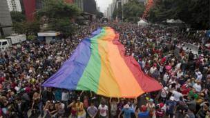 Avenida Paulista in Sao Paulo packed with people during the Gay Pride march on 2 June 2013
