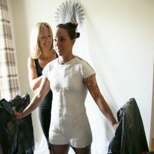 Beth Tweddle undergoing body casting