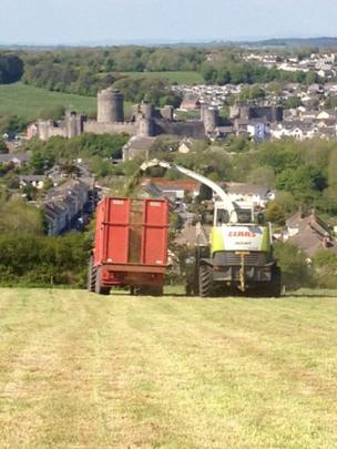 Tractor and castle
