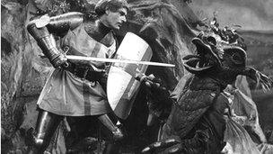 St George fights the dragon in a 1950 BBC TV production