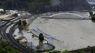 Flooded Czech town of Usti nad Labem, north of Prague, on 4 June 2013