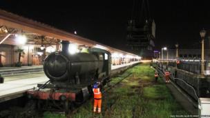 The locomotive on a platform at Moor Street Station