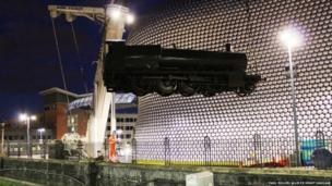 The locomotive lifted up next to the Bullring