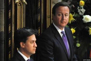 Left to right: Ed Miliband, David Cameron