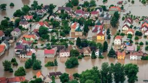 Aerial view of flooded Czech village Kresice, north of Prague, on 4 June 2013