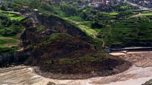 Aerial view of Holbeck Hall site after landslip