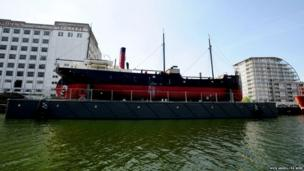 """A view of the SS Robin""""s new permanent home in Royal Victoria Dock, east London"""