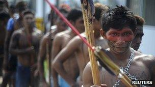 Members of Amazonian indigenous groups at a protest against the Belo Monte dam in Brazil on 5 May 2013