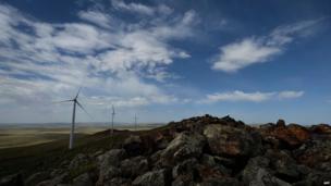 Mongolia's Salkhit Mountain wind farm outside Ulan Bator