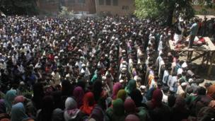 Funeral of Altaf Baba, aka Gazi Baba, believed to be have been a leader of the Jaish-e-Mohammad militants group, at Pulwama, south of Srinagar on 6 June 2013.