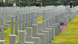 The American military cemetery in Colleville sur Mer, in Normandy, on 6 June 2013.