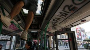 A destroyed bus at Gezi park in Istanbul on 6 June.