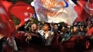 Erdogan supporters at Istanbul's Ataturk airport, 6 June