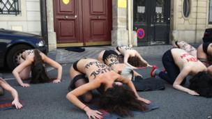 Femen protesters outside Tunisia's embassy in Paris, France