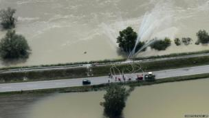 An aerial view of a dyke near the flooding of the river Danube near Deggendorf, southern Germany