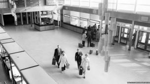 Inside the terminal building at East Midlands Airport