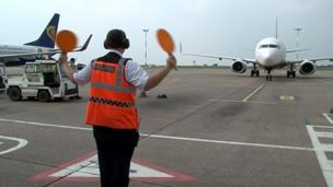 Workers at East Midlands Airport