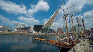 Tall ship at Mersey River Festival