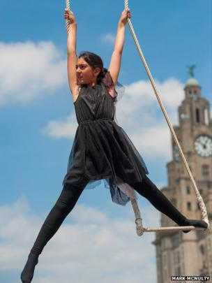 Gymnast at Mersey River Festival