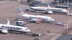 Ryanair aircraft at East Midlands Airport