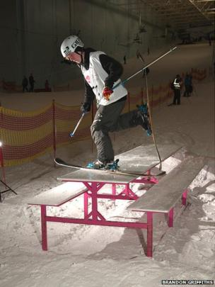 Tyler Jay Harding at the English Slopestyle Championships in Trafford